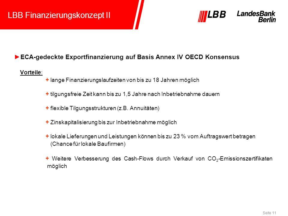Seite 11 LBB Finanzierungskonzept II ECA-gedeckte Exportfinanzierung auf Basis Annex IV OECD Konsensus Vorteile: + lange Finanzierungslaufzeiten von b
