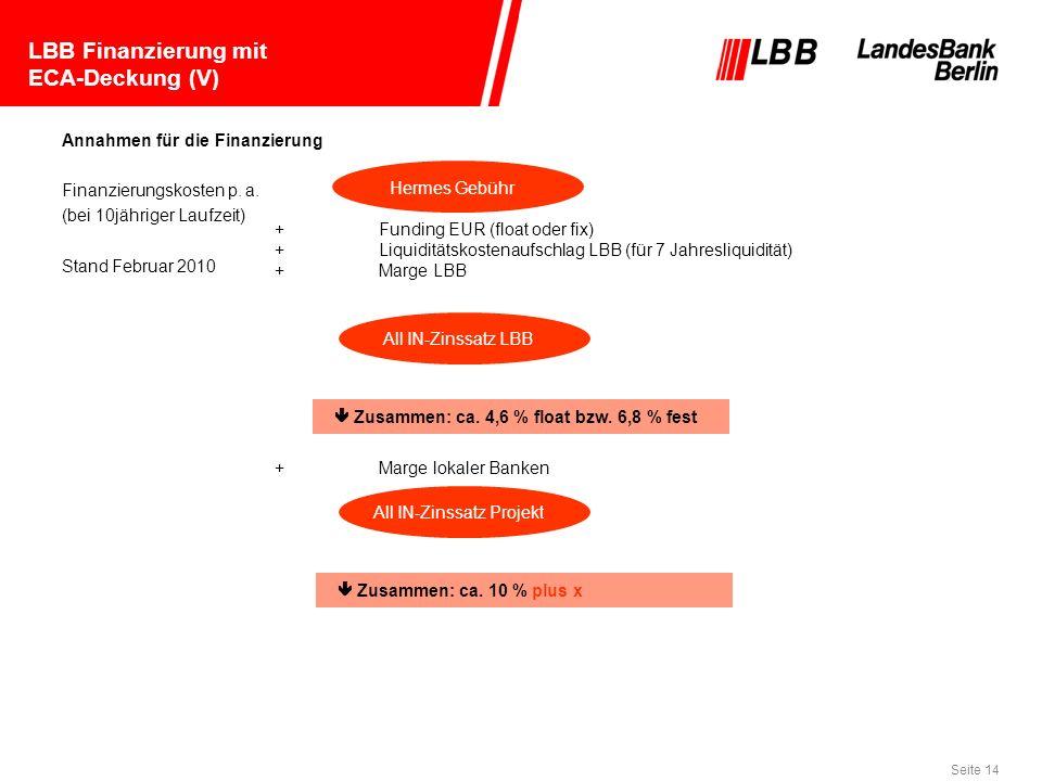 Seite 14 Hermes Gebühr All IN-Zinssatz LBB All IN-Zinssatz Projekt LBB Finanzierung mit ECA-Deckung (V) Zusammen: ca. 4,6 % float bzw. 6,8 % fest Zusa