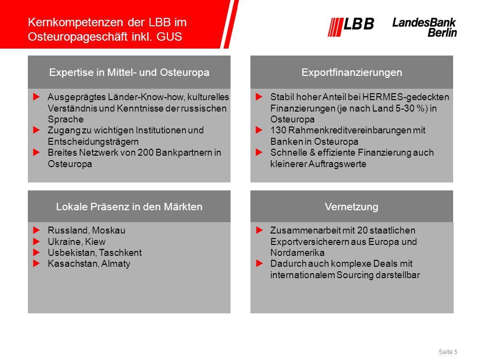Seite 5 Kernkompetenzen der LBB im Osteuropageschäft inkl. GUS Ausgeprägtes Länder-Know-how, kulturelles Verständnis und Kenntnisse der russischen Spr