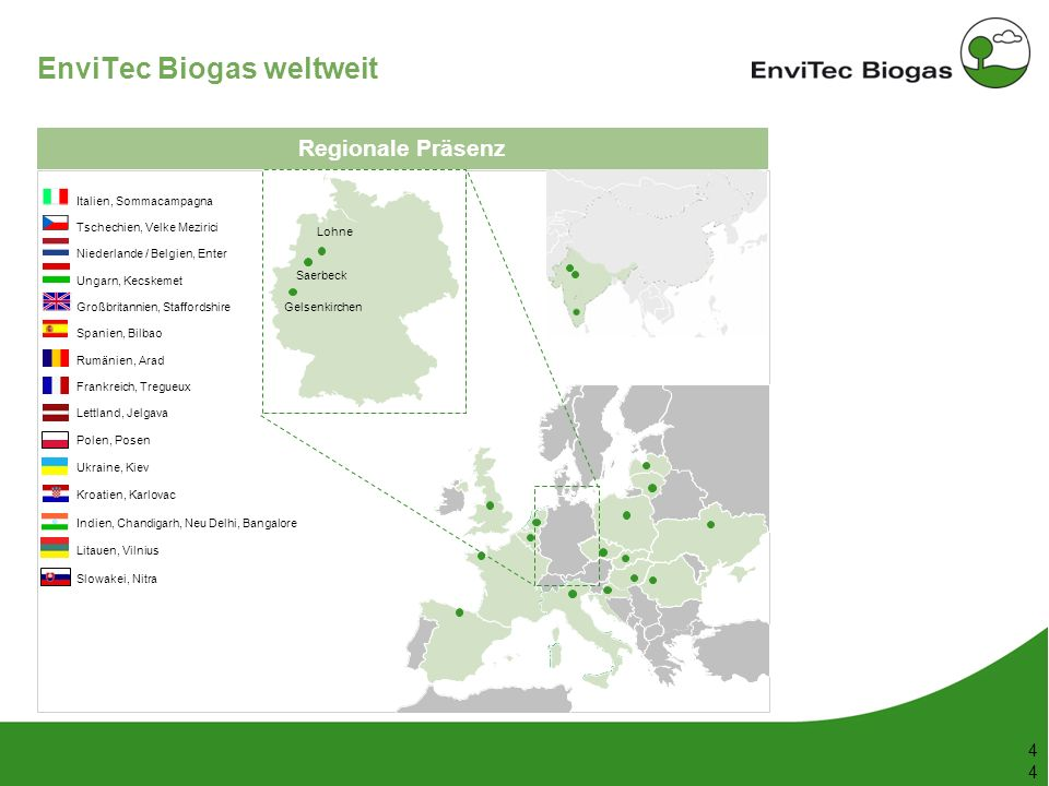 53 148 38 208 116 169 87 165 197 142 211 226 199 4 4 EnviTec Biogas weltweit Regionale Präsenz Italien, Sommacampagna Tschechien, Velke Mezirici Niede
