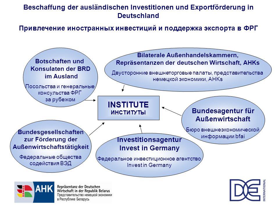 Beschaffung der ausländischen Investitionen und Exportförderung in Deutschland Привлечение иностранных инвестиций и поддержка экспорта в ФРГINSTITUTEИ