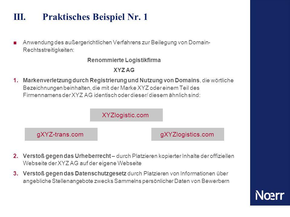III.Praktisches Beispiel Nr. 1 Anwendung des außergerichtlichen Verfahrens zur Beilegung von Domain- Rechtsstreitigkeiten: Renommierte Logistikfirma X