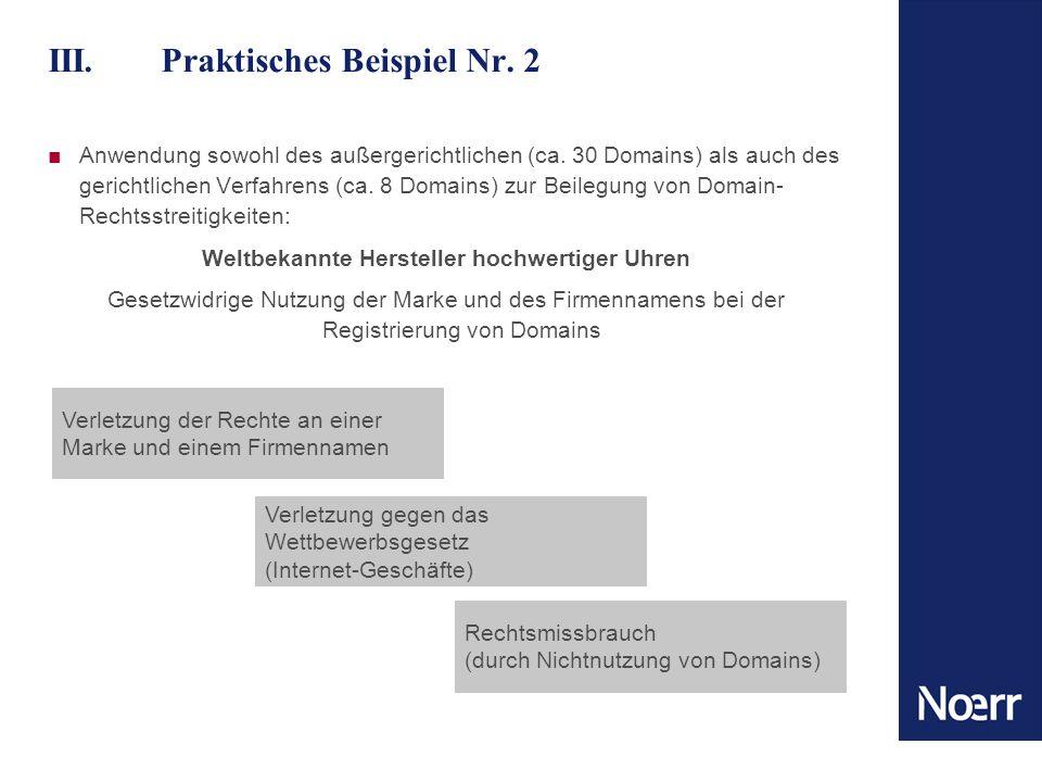 III. Praktisches Beispiel Nr. 2 Anwendung sowohl des außergerichtlichen (ca. 30 Domains) als auch des gerichtlichen Verfahrens (ca. 8 Domains) zur Bei