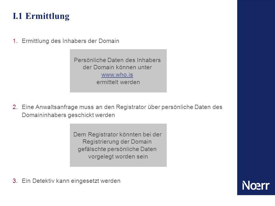 I.1 Ermittlung 1.Ermittlung des Inhabers der Domain 2.Eine Anwaltsanfrage muss an den Registrator über persönliche Daten des Domaininhabers geschickt werden 3.Ein Detektiv kann eingesetzt werden Dem Registrator könnten bei der Registrierung der Domain gefälschte persönliche Daten vorgelegt worden sein Persönliche Daten des Inhabers der Domain können unter www.who.is ermittelt werden