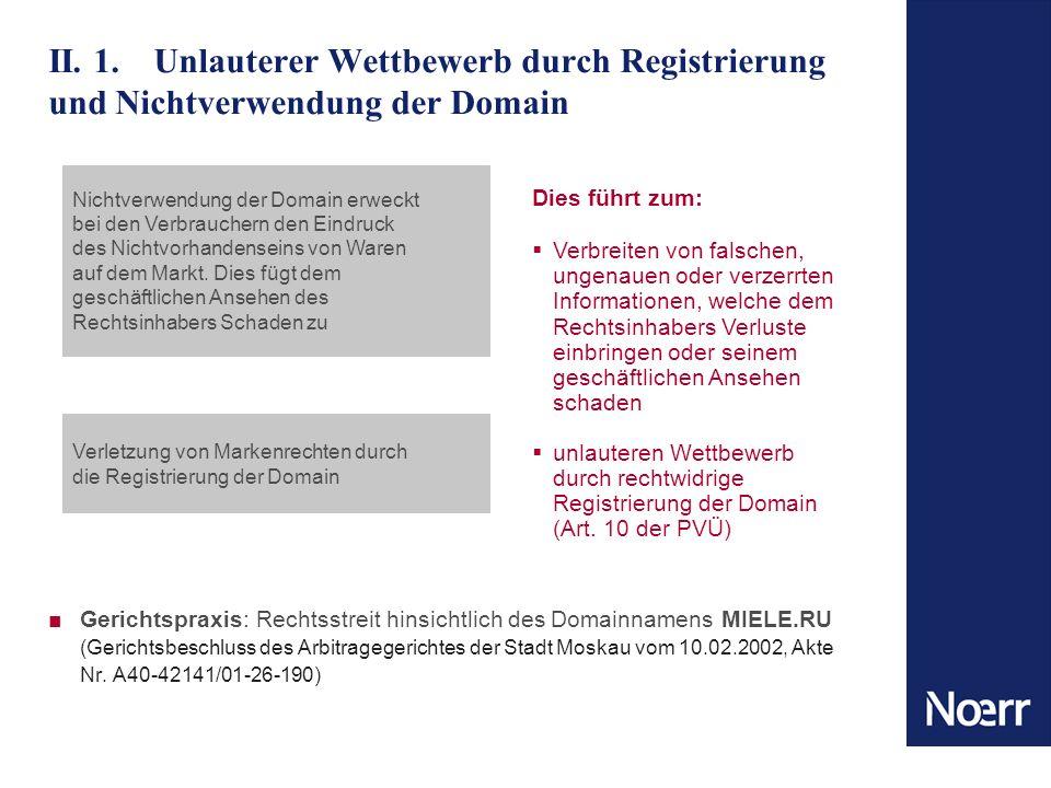 II. 1. Unlauterer Wettbewerb durch Registrierung und Nichtverwendung der Domain Gerichtspraxis: Rechtsstreit hinsichtlich des Domainnamens MIELE.RU (G