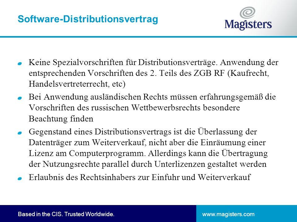 www.magisters.comBased in the CIS. Trusted Worldwide. Software-Distributionsvertrag Keine Spezialvorschriften für Distributionsverträge. Anwendung der