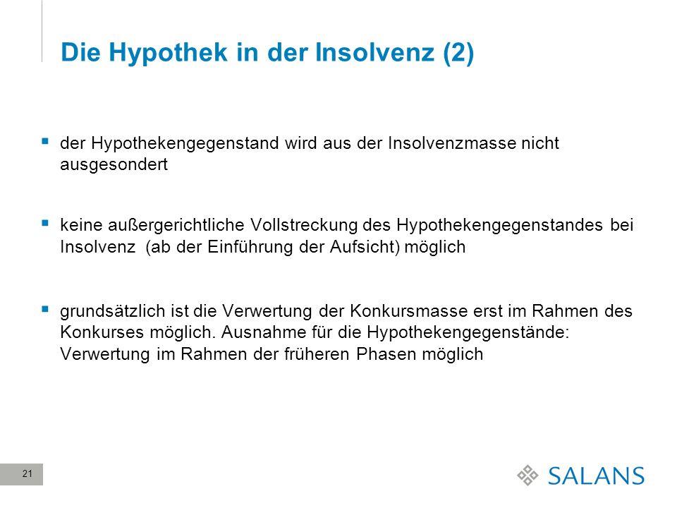 21 Die Hypothek in der Insolvenz (2) der Hypothekengegenstand wird aus der Insolvenzmasse nicht ausgesondert keine außergerichtliche Vollstreckung des