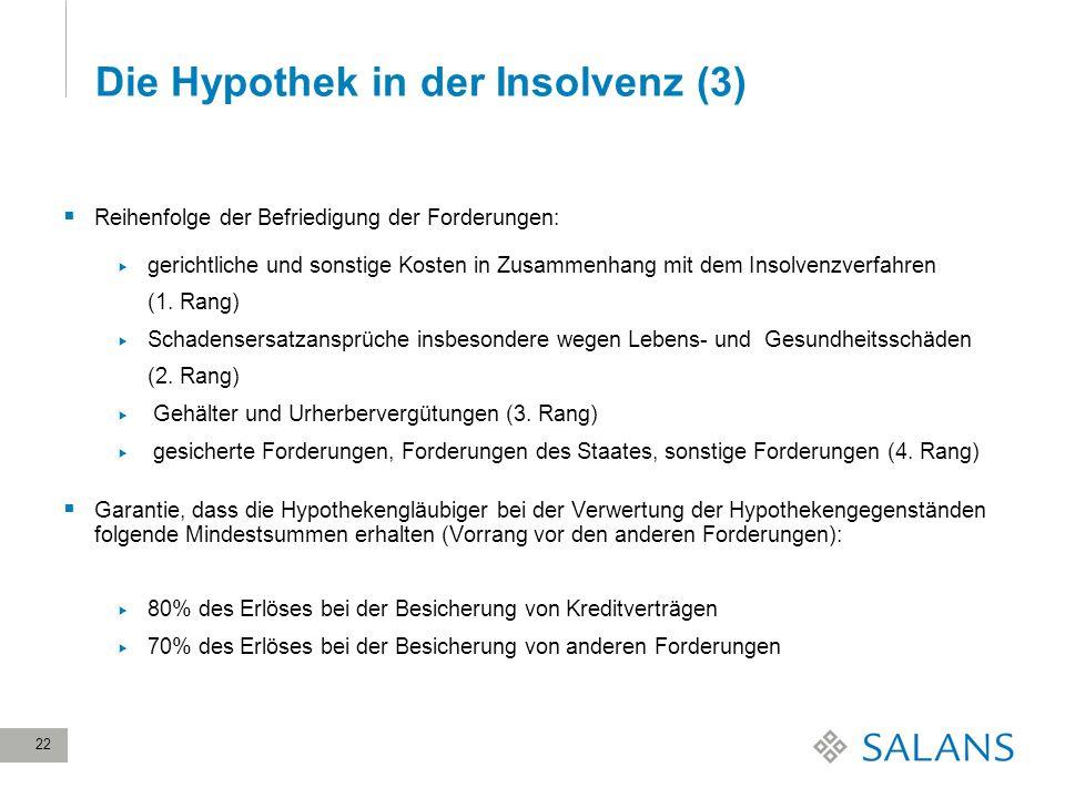 22 Die Hypothek in der Insolvenz (3) Reihenfolge der Befriedigung der Forderungen: gerichtliche und sonstige Kosten in Zusammenhang mit dem Insolvenzv