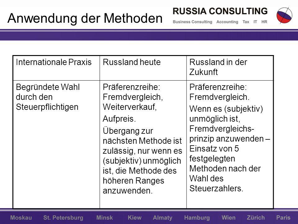 Anwendung der Methoden Internationale PraxisRussland heuteRussland in der Zukunft Begründete Wahl durch den Steuerpflichtigen Präferenzreihe: Fremdver