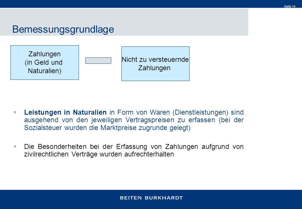 Seite 14 Bemessungsgrundlage Zahlungen (in Geld und Naturalien) Nicht zu versteuernde Zahlungen Leistungen in Naturalien in Form von Waren (Dienstleis