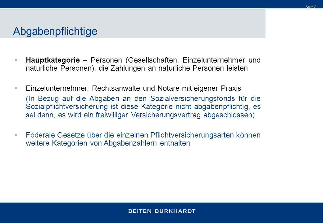 Seite 7 Abgabenpflichtige Hauptkategorie – Personen (Gesellschaften, Einzelunternehmer und natürliche Personen), die Zahlungen an natürliche Personen