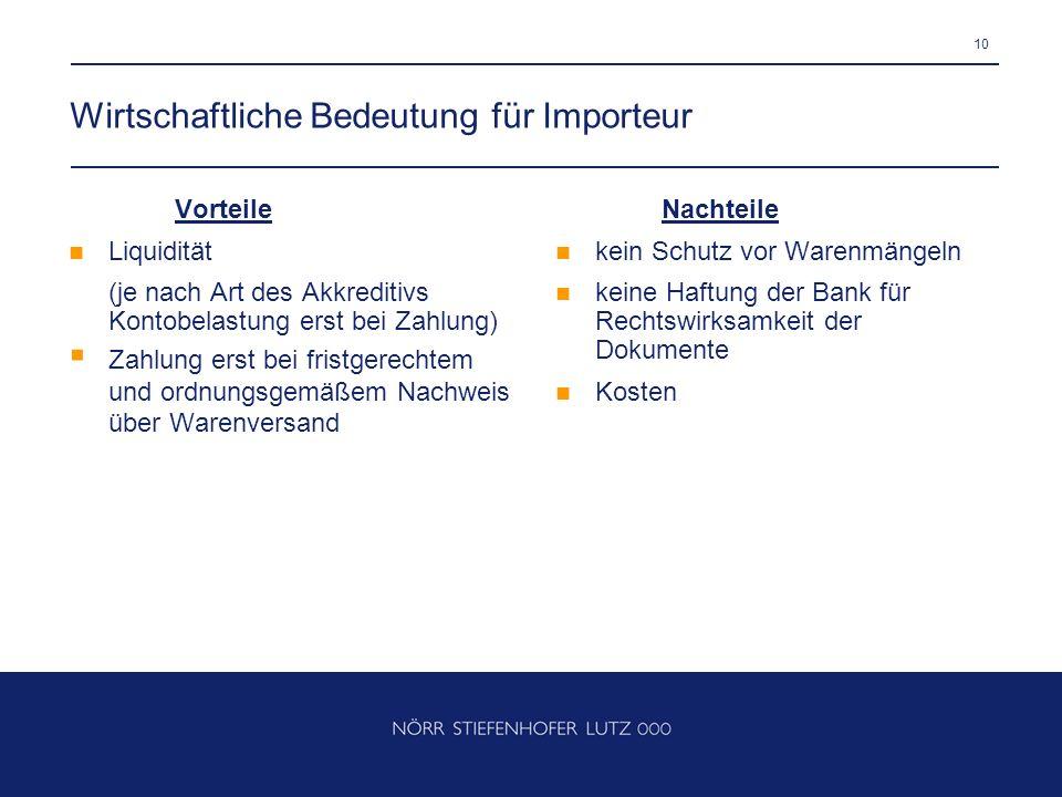 10 Wirtschaftliche Bedeutung für Importeur Vorteile Liquidität (je nach Art des Akkreditivs Kontobelastung erst bei Zahlung) Zahlung erst bei fristger