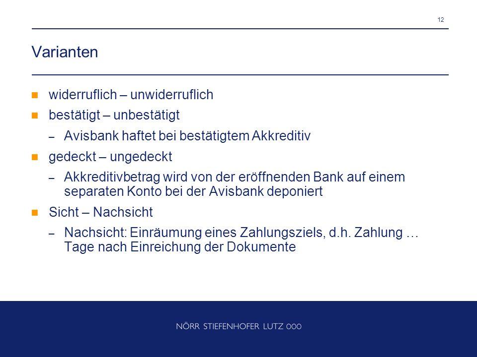 12 Varianten widerruflich – unwiderruflich bestätigt – unbestätigt – Avisbank haftet bei bestätigtem Akkreditiv gedeckt – ungedeckt – Akkreditivbetrag