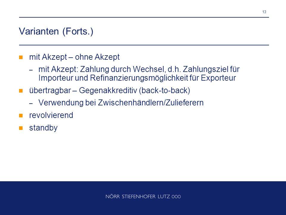 13 Varianten (Forts.) mit Akzept – ohne Akzept – mit Akzept: Zahlung durch Wechsel, d.h. Zahlungsziel für Importeur und Refinanzierungsmöglichkeit für