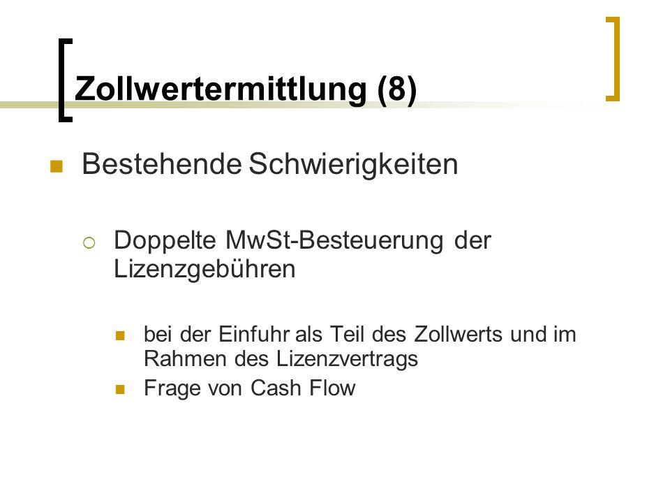 Zollwertermittlung (8) Bestehende Schwierigkeiten Doppelte MwSt-Besteuerung der Lizenzgebühren bei der Einfuhr als Teil des Zollwerts und im Rahmen de