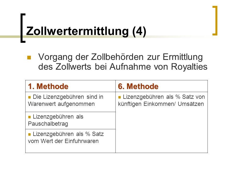 Zollwertermittlung (4) Vorgang der Zollbehörden zur Ermittlung des Zollwerts bei Aufnahme von Royalties 1. Methode 6. Methode Die Lizenzgebühren sind