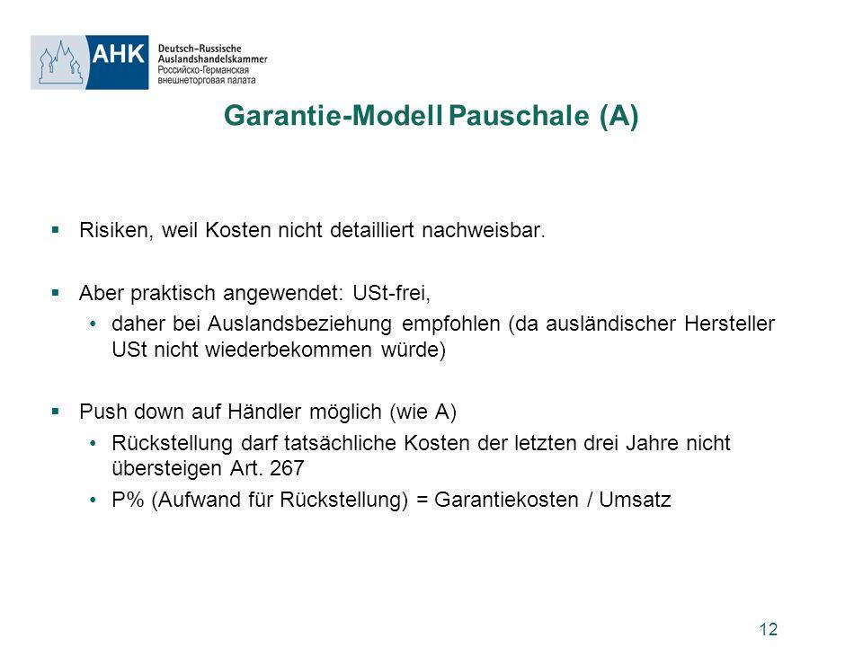 12 Garantie-Modell Pauschale (A) Risiken, weil Kosten nicht detailliert nachweisbar. Aber praktisch angewendet: USt-frei, daher bei Auslandsbeziehung