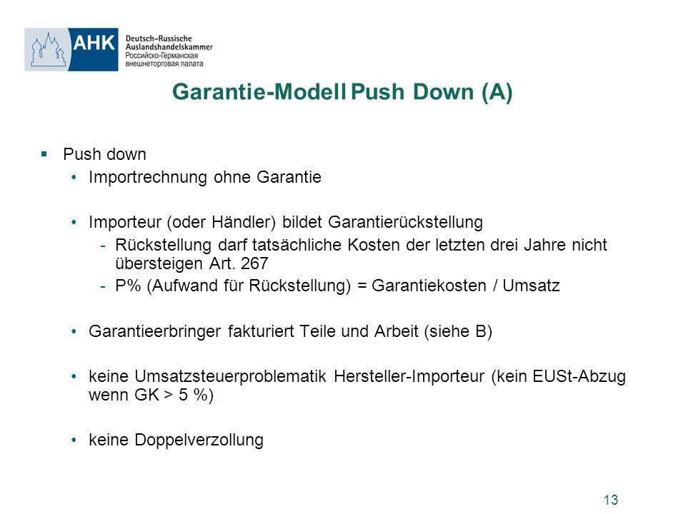 13 Garantie-Modell Push Down (A) Push down Importrechnung ohne Garantie Importeur (oder Händler) bildet Garantierückstellung -Rückstellung darf tatsäc