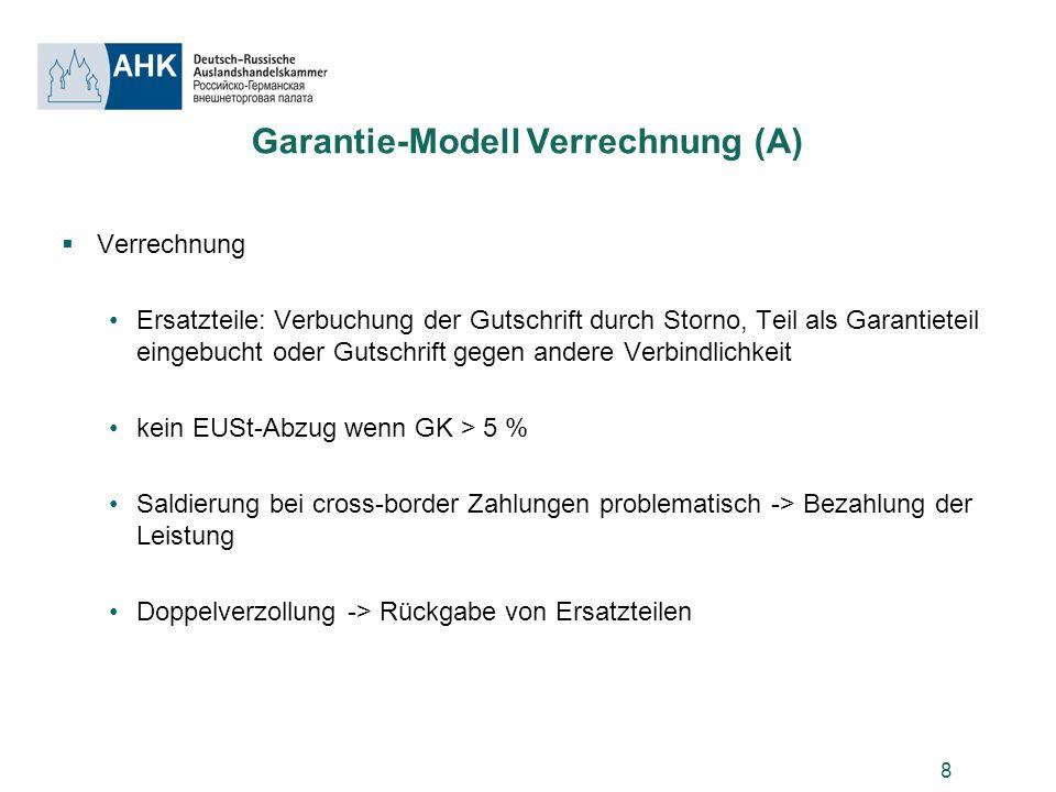 8 Garantie-Modell Verrechnung (A) Verrechnung Ersatzteile: Verbuchung der Gutschrift durch Storno, Teil als Garantieteil eingebucht oder Gutschrift ge