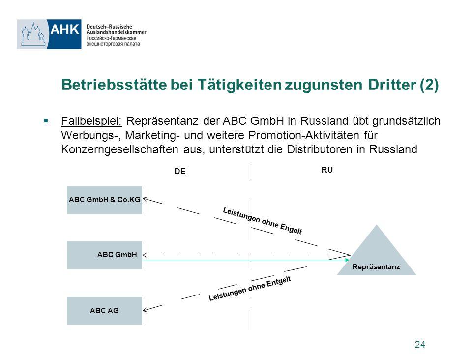 24 Betriebsstätte bei Tätigkeiten zugunsten Dritter (2) Fallbeispiel: Repräsentanz der ABC GmbH in Russland übt grundsätzlich Werbungs-, Marketing- un