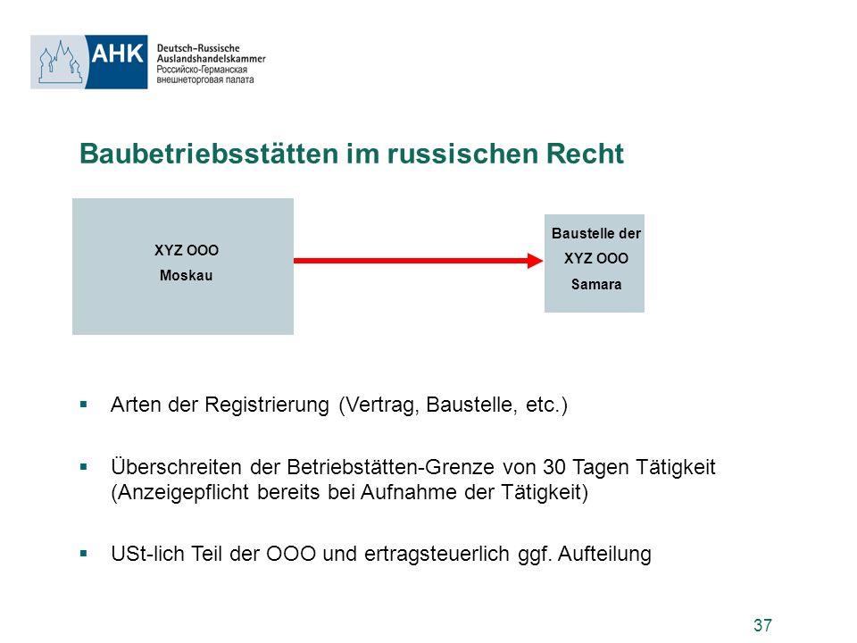 37 Baubetriebsstätten im russischen Recht Arten der Registrierung (Vertrag, Baustelle, etc.) Überschreiten der Betriebstätten-Grenze von 30 Tagen Täti