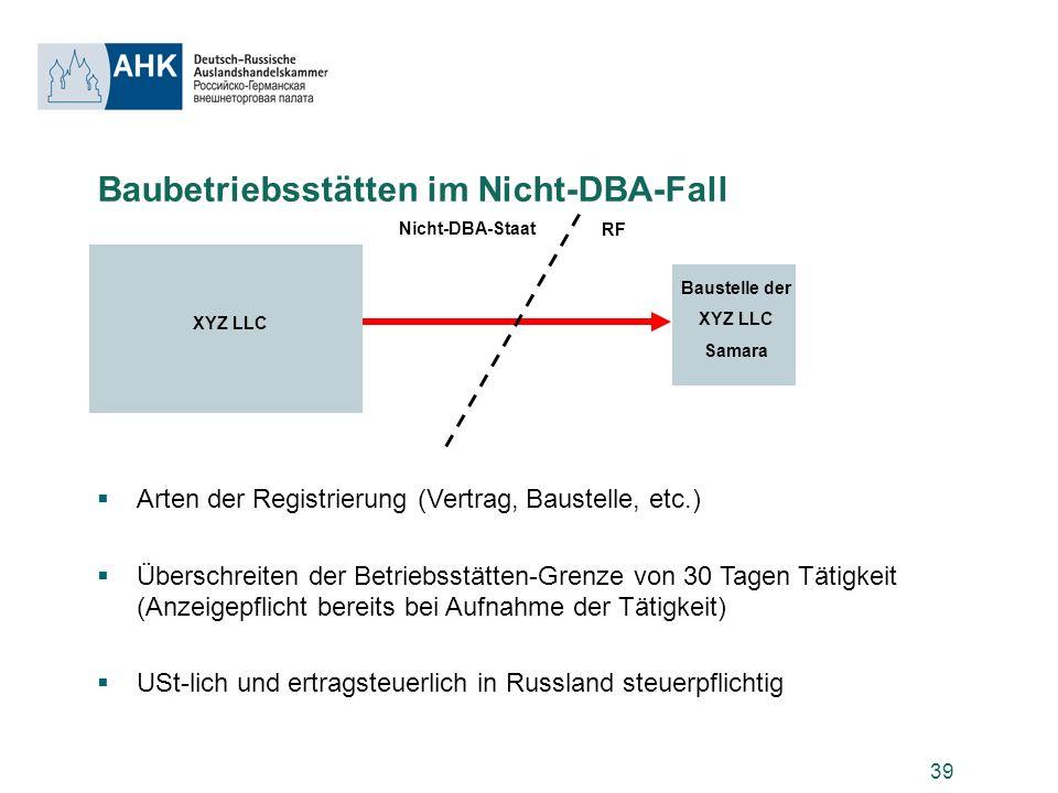39 Baubetriebsstätten im Nicht-DBA-Fall Arten der Registrierung (Vertrag, Baustelle, etc.) Überschreiten der Betriebsstätten-Grenze von 30 Tagen Tätig