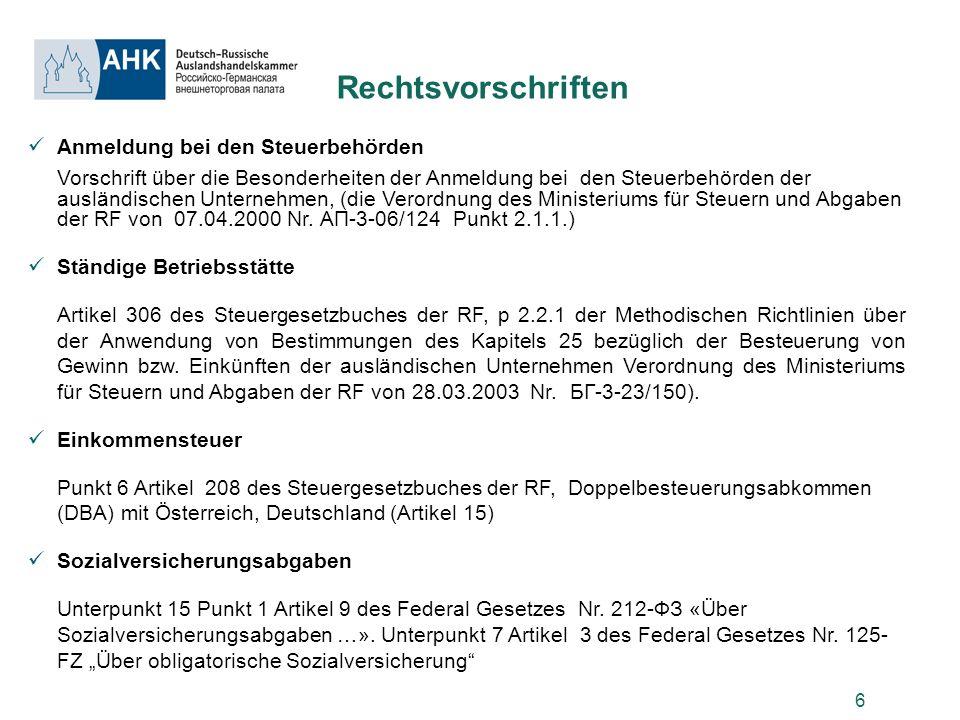 6 Rechtsvorschriften Anmeldung bei den Steuerbehörden Vorschrift über die Besonderheiten der Anmeldung bei den Steuerbehörden der ausländischen Untern