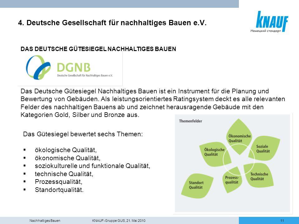 Nachhaltiges Bauen KNAUF-Gruppe GUS, 21. Mai 201011 4. Deutsche Gesellschaft für nachhaltiges Bauen e.V. DAS DEUTSCHE GÜTESIEGEL NACHHALTIGES BAUEN Da