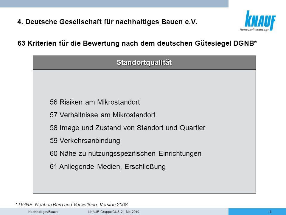 Nachhaltiges Bauen KNAUF-Gruppe GUS, 21. Mai 201018 4. Deutsche Gesellschaft für nachhaltiges Bauen e.V. 63 Kriterien für die Bewertung nach dem deuts