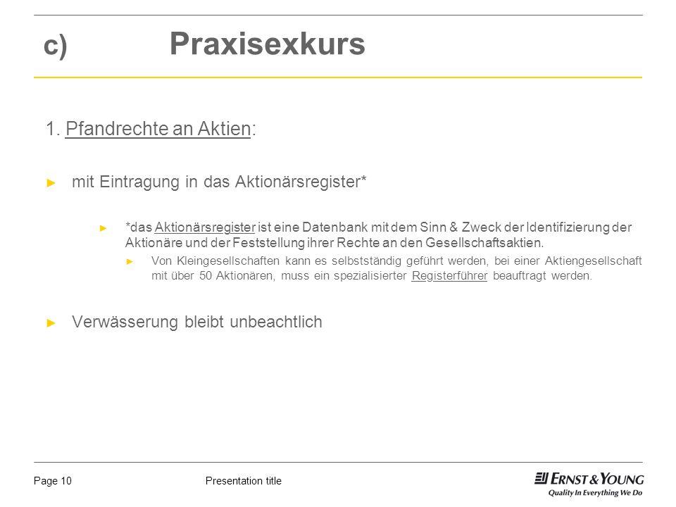 Presentation titlePage 10 c) Praxisexkurs 1.
