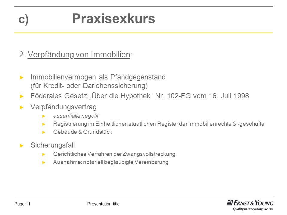 Presentation titlePage 11 c) Praxisexkurs 2.