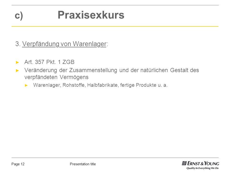 Presentation titlePage 12 c) Praxisexkurs 3. Verpfändung von Warenlager: Art.