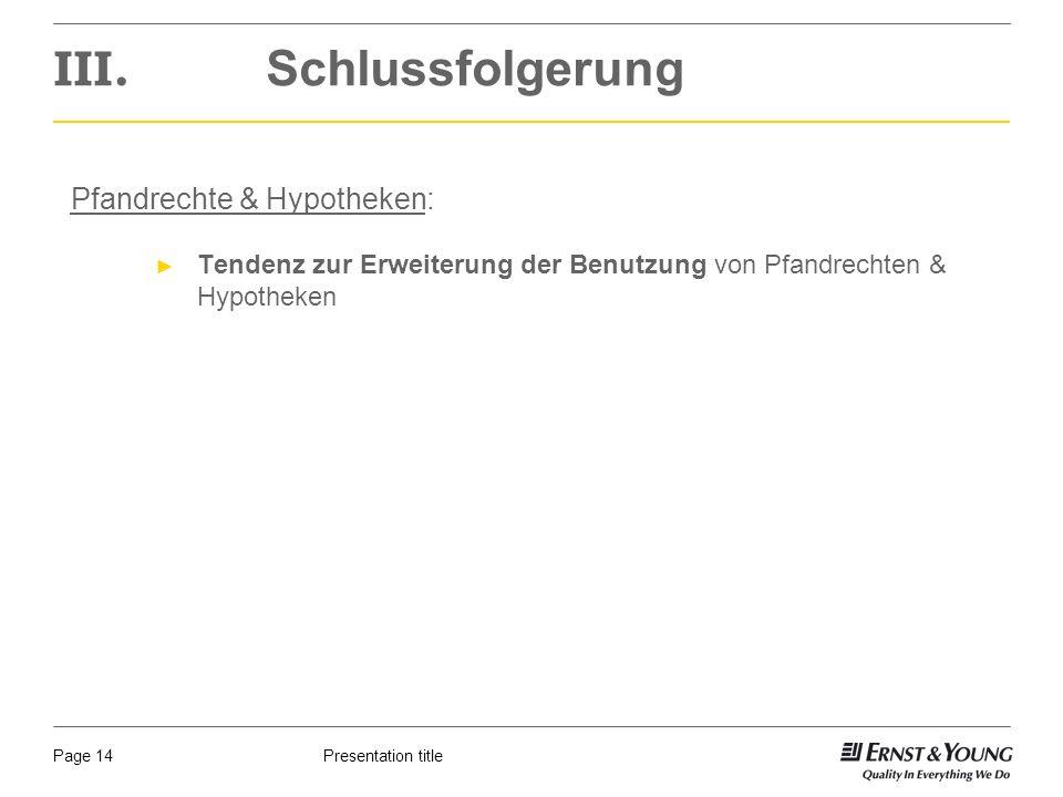 Presentation titlePage 14 III.