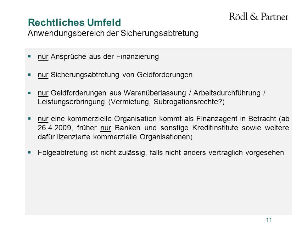 11 Rechtliches Umfeld Anwendungsbereich der Sicherungsabtretung nur Ansprüche aus der Finanzierung nur Sicherungsabtretung von Geldforderungen nur Gel