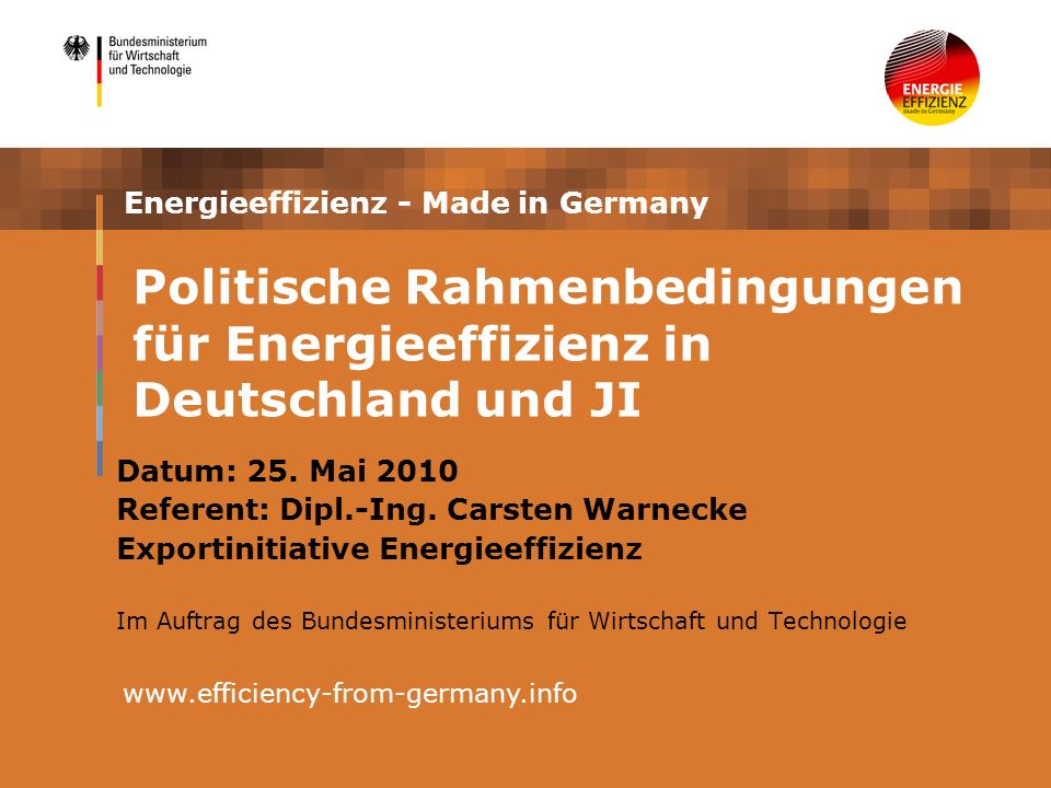 2 Inhalt Einführung: Energieeffizienz in Deutschland Energieeffizienz- und Emissionsreduktionsziele - politische Maßnahmen in der EU und in Deutschland Technologietransfer in der Abfallwirtschaft durch Joint Implementation