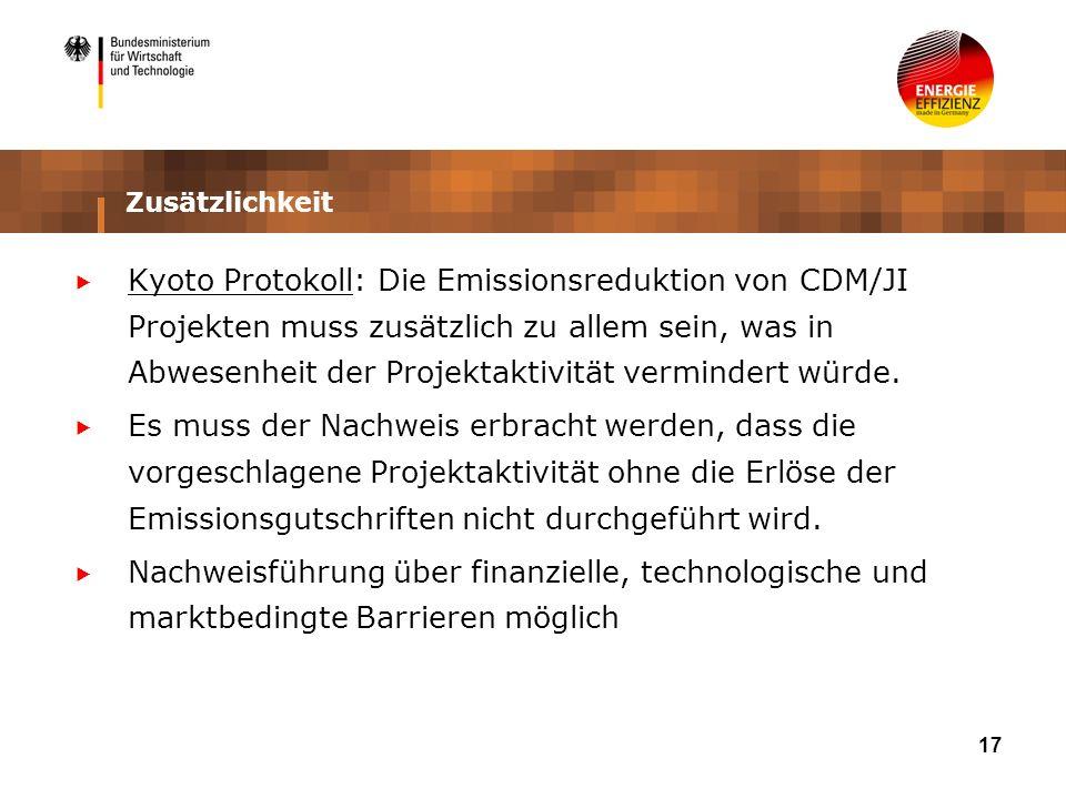 17 Zusätzlichkeit Kyoto Protokoll: Die Emissionsreduktion von CDM/JI Projekten muss zusätzlich zu allem sein, was in Abwesenheit der Projektaktivität