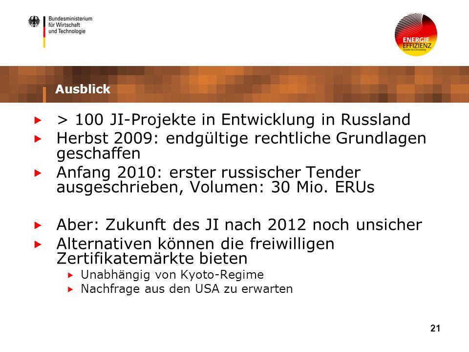 21 Ausblick > 100 JI-Projekte in Entwicklung in Russland Herbst 2009: endgültige rechtliche Grundlagen geschaffen Anfang 2010: erster russischer Tender ausgeschrieben, Volumen: 30 Mio.