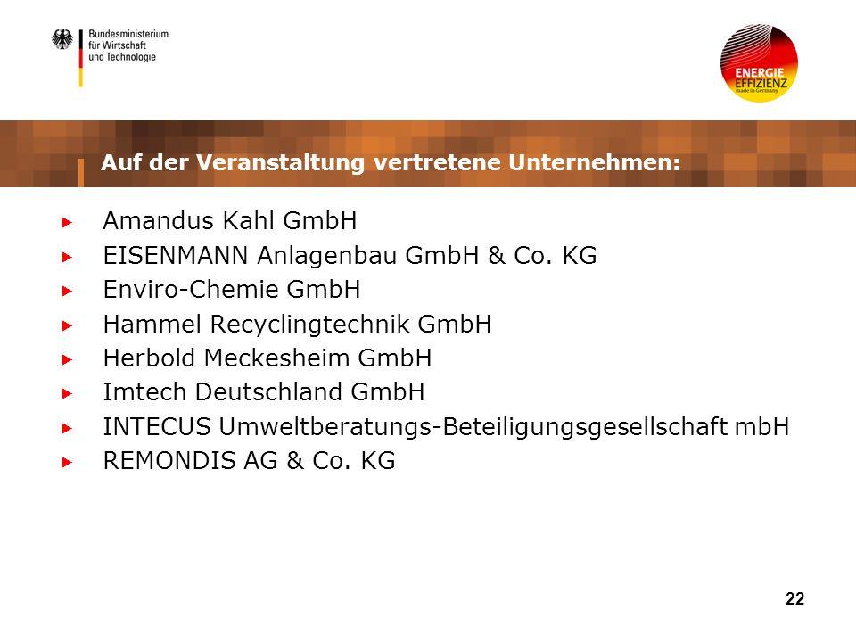 22 Auf der Veranstaltung vertretene Unternehmen: Amandus Kahl GmbH EISENMANN Anlagenbau GmbH & Co. KG Enviro-Chemie GmbH Hammel Recyclingtechnik GmbH