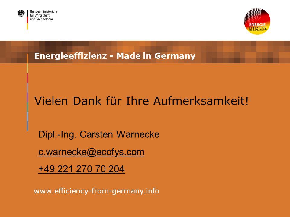 Energieeffizienz - Made in Germany www.efficiency-from-germany.info Vielen Dank für Ihre Aufmerksamkeit.