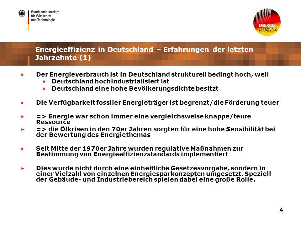 4 Energieeffizienz in Deutschland – Erfahrungen der letzten Jahrzehnte (1) Der Energieverbrauch ist in Deutschland strukturell bedingt hoch, weil Deut