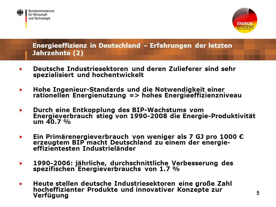 5 Energieeffizienz in Deutschland – Erfahrungen der letzten Jahrzehnte (2) Deutsche Industriesektoren und deren Zulieferer sind sehr spezialisiert und hochentwickelt Hohe Ingenieur-Standards und die Notwendigkeit einer rationellen Energienutzung => hohes Energieeffizienzniveau Durch eine Entkopplung des BIP-Wachstums vom Energieverbrauch stieg von 1990-2008 die Energie-Produktivität um 40.7 % Ein Primärenergieverbrauch von weniger als 7 GJ pro 1000 erzeugtem BIP macht Deutschland zu einem der energie- effizientesten Industrieländer 1990-2006: jährliche, durchschnittliche Verbesserung des spezifischen Energieverbrauchs von 1.7 % Heute stellen deutsche Industriesektoren eine große Zahl hocheffizienter Produkte und innovativer Konzepte zur Verfügung