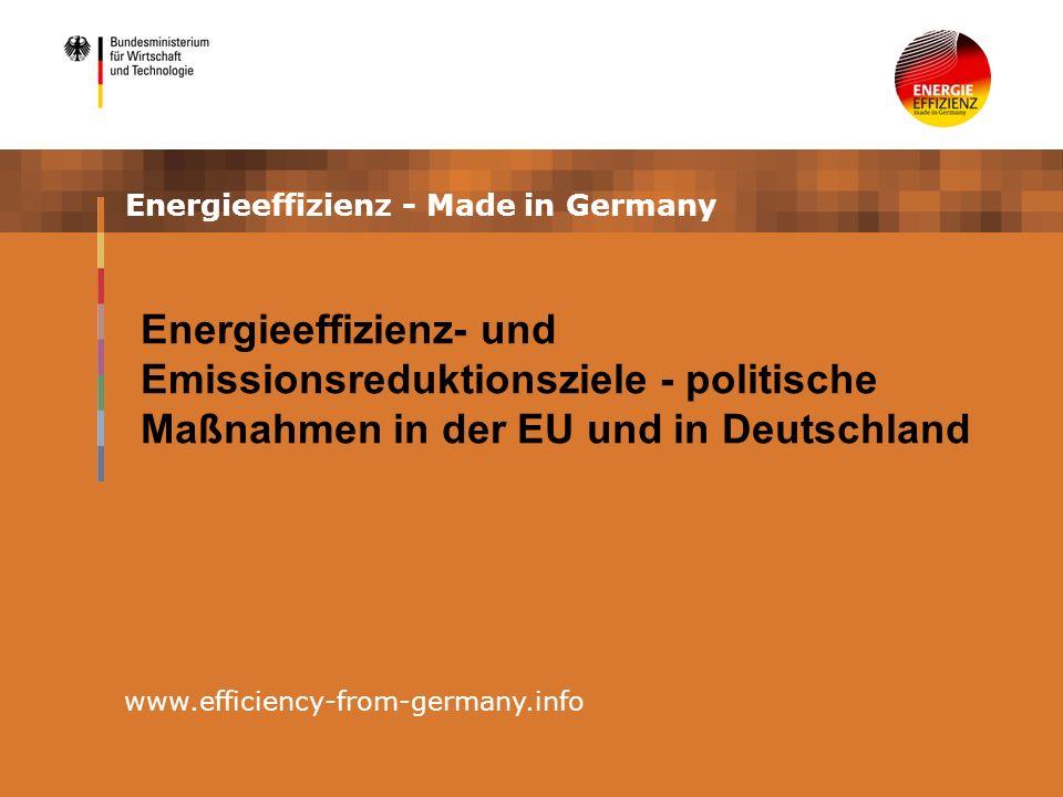 Energieeffizienz - Made in Germany www.efficiency-from-germany.info Energieeffizienz- und Emissionsreduktionsziele - politische Maßnahmen in der EU und in Deutschland