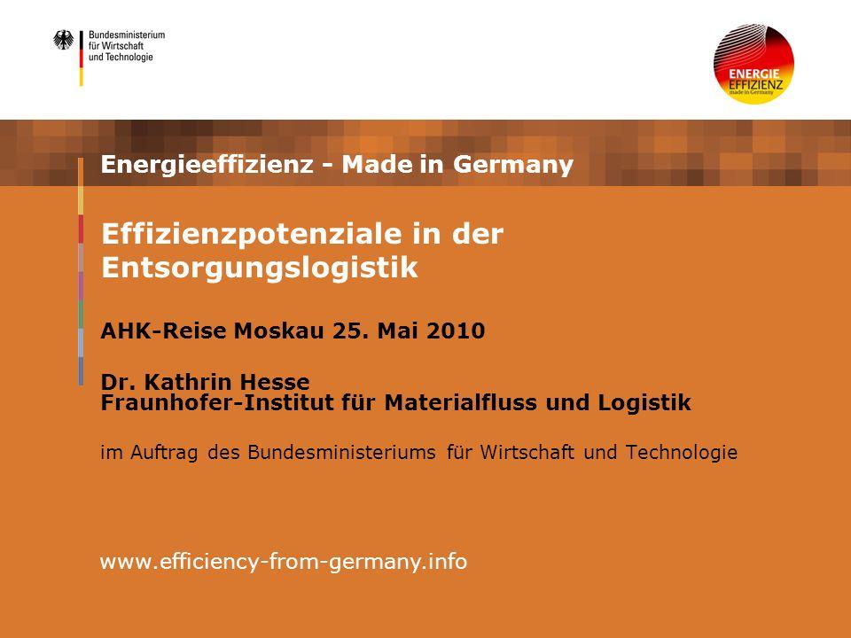 Energieeffizienz - Made in Germany AHK-Reise Moskau 25. Mai 2010 Dr. Kathrin Hesse Fraunhofer-Institut für Materialfluss und Logistik im Auftrag des B