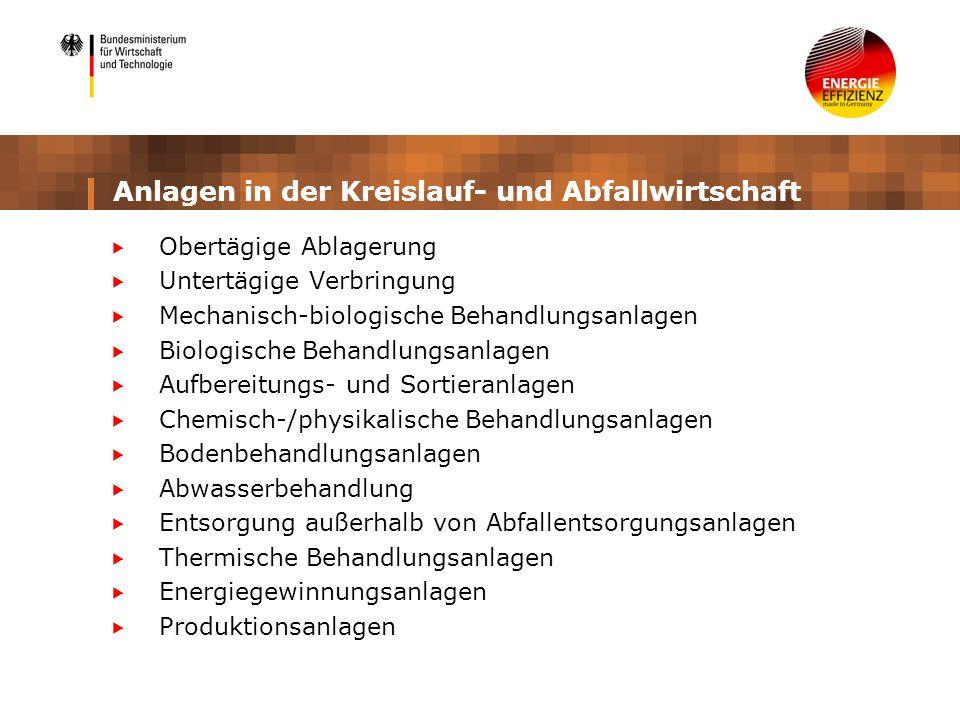Anlagen in der Kreislauf- und Abfallwirtschaft Obertägige Ablagerung Untertägige Verbringung Mechanisch-biologische Behandlungsanlagen Biologische Beh