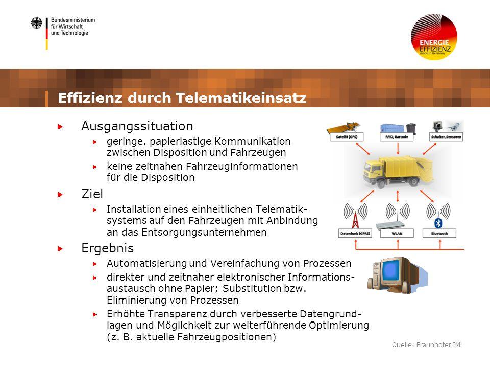 Effizienz durch Telematikeinsatz Ausgangssituation geringe, papierlastige Kommunikation zwischen Disposition und Fahrzeugen keine zeitnahen Fahrzeugin