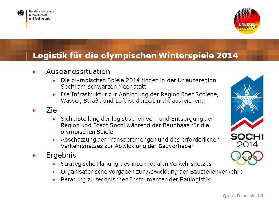 Logistik für die olympischen Winterspiele 2014 Ausgangssituation Die olympischen Spiele 2014 finden in der Urlaubsregion Sochi am schwarzen Meer statt