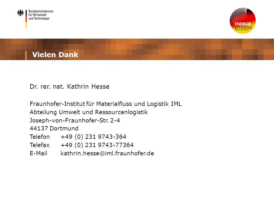 Vielen Dank Dr. rer. nat. Kathrin Hesse Fraunhofer-Institut für Materialfluss und Logistik IML Abteilung Umwelt und Ressourcenlogistik Joseph-von-Frau