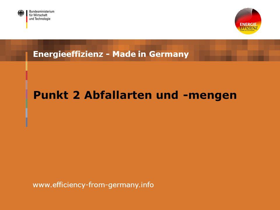 Energieeffizienz - Made in Germany www.efficiency-from-germany.info Punkt 2 Abfallarten und -mengen