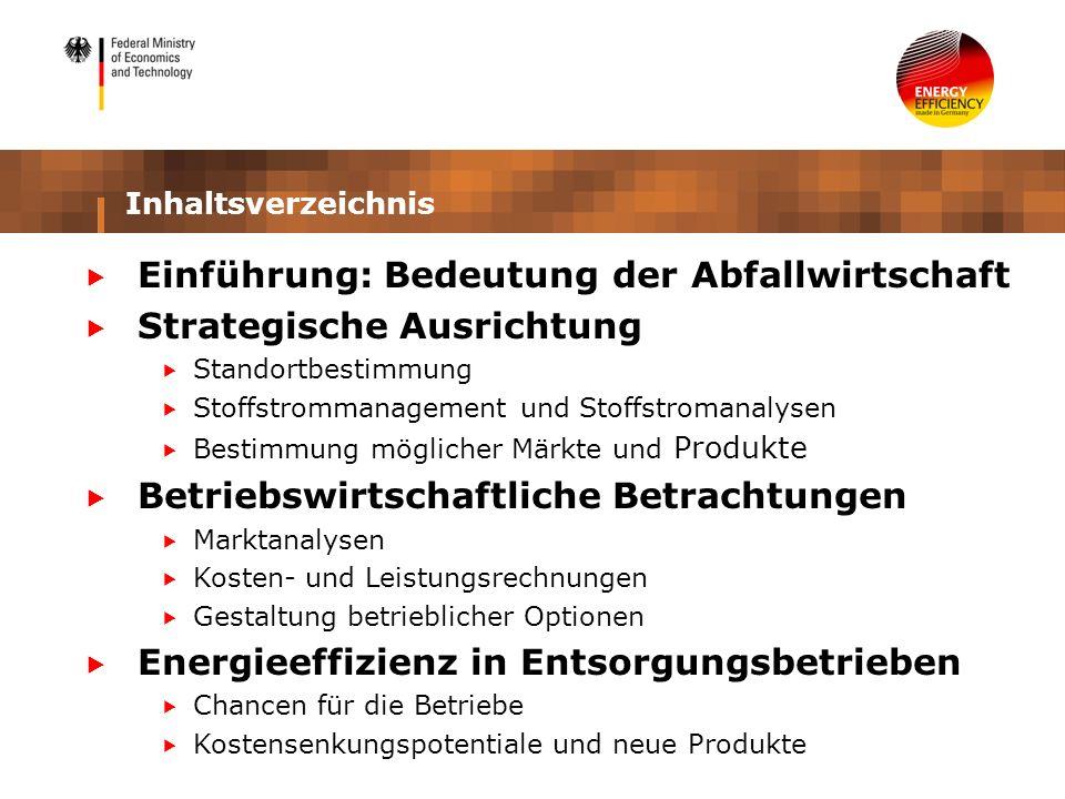Inhaltsverzeichnis Einführung: Bedeutung der Abfallwirtschaft Strategische Ausrichtung Standortbestimmung Stoffstrommanagement und Stoffstromanalysen