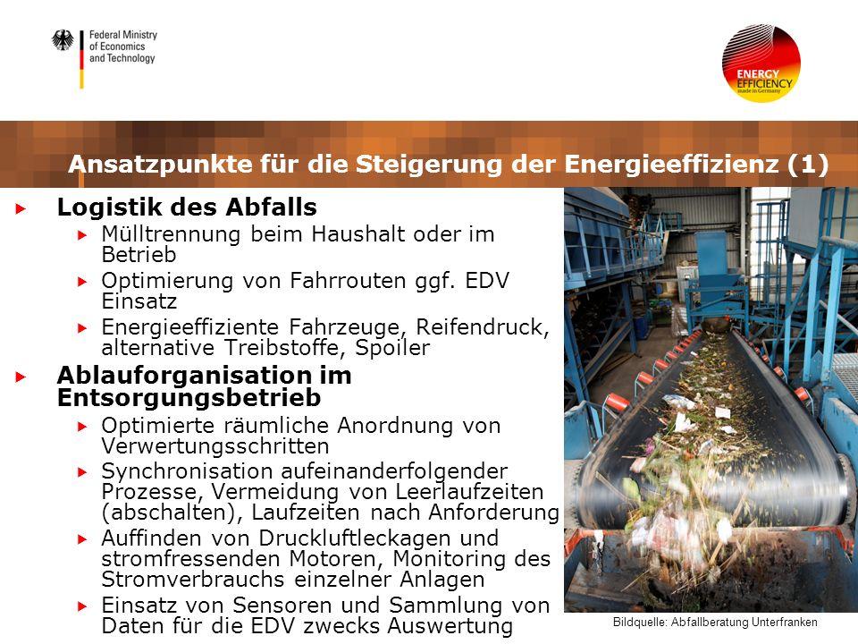 Ansatzpunkte für die Steigerung der Energieeffizienz (1) Logistik des Abfalls Mülltrennung beim Haushalt oder im Betrieb Optimierung von Fahrrouten gg